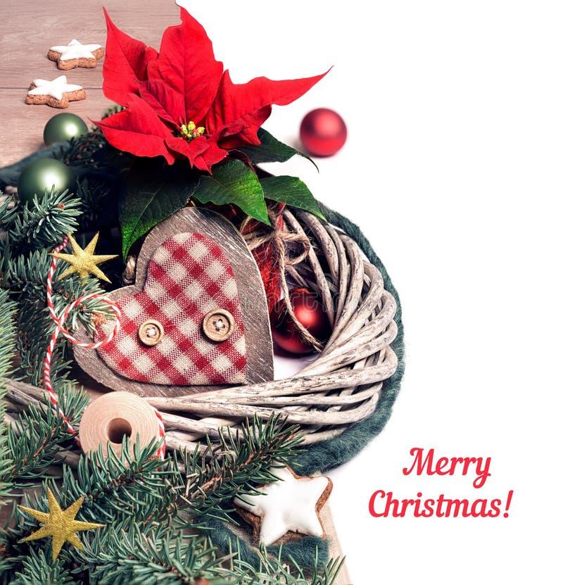 Kerstmisgrens met poinsettia en de winterdecoratie, tekst SP royalty-vrije stock foto