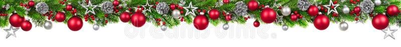 Kerstmisgrens op wit, extra wijd stock illustratie