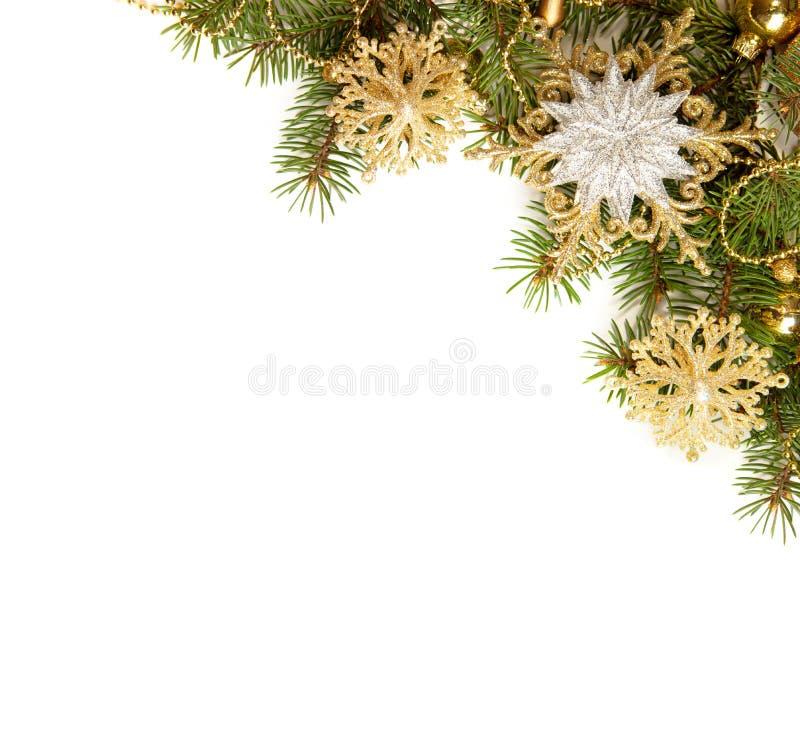 Kerstmisgrens op witte achtergrond wordt geïsoleerd die stock fotografie