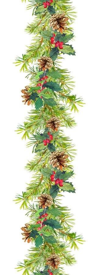Kerstmisgrens - sparrentakken met kegels en maretak Waterverfkader stock afbeelding