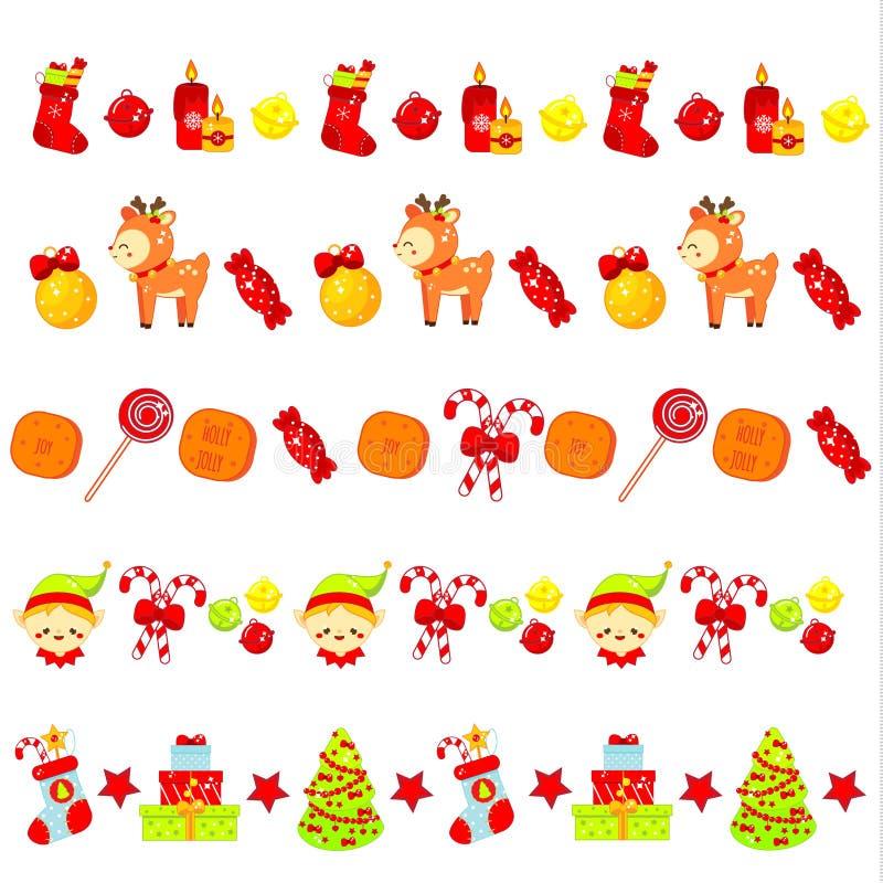 Kerstmisgrenzen met leuke symbolen Kerstmanelf, sokken, boom en andere voorwerpen Malplaatje voor plakband, decoratielinten en stock illustratie