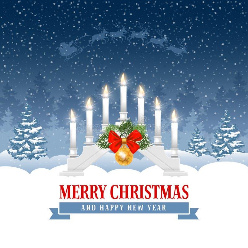 Kerstmisgroet met de brug van kaarslichten stock illustratie