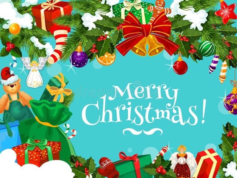 Kerstmisgroeten met het kader van de Kerstmisslinger vector illustratie
