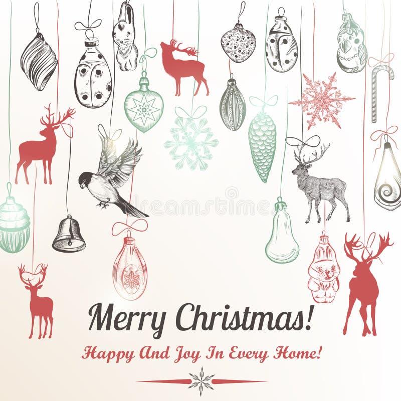 Kerstmishand getrokken achtergrondkerstmisdecoratie stock illustratie