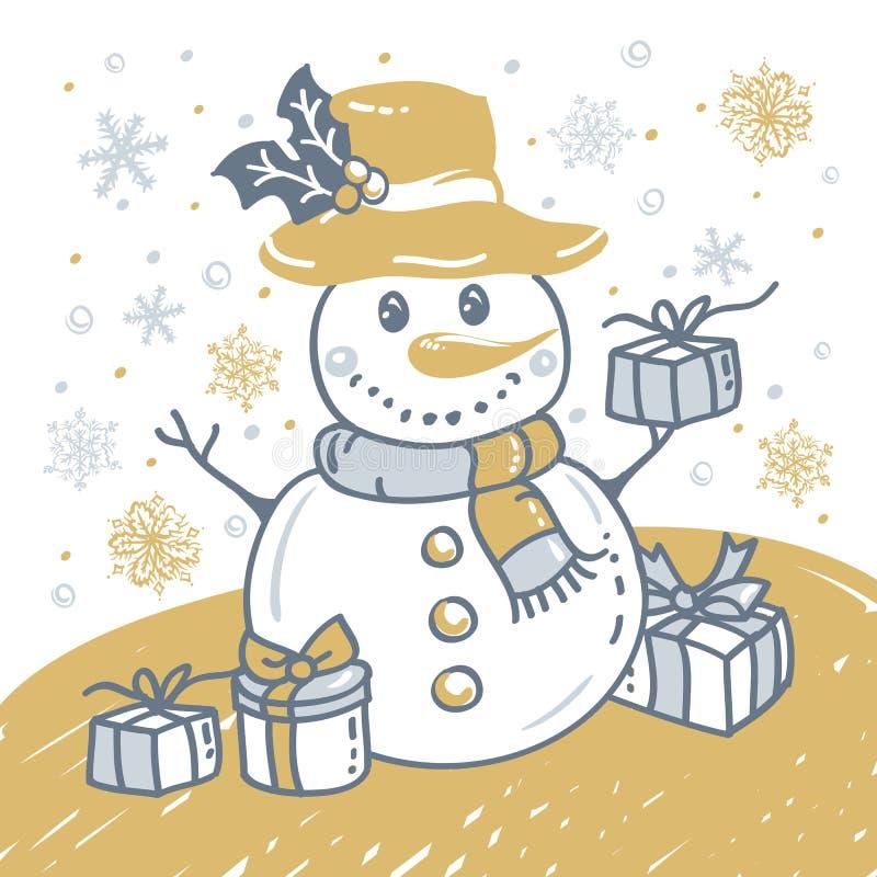 Kerstmishand getrokken kaart met Kerstmissneeuwman vector illustratie