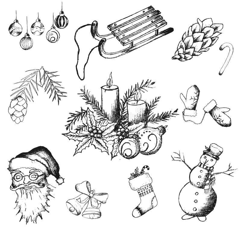 Kerstmishand getrokken pictogrammen stock illustratie