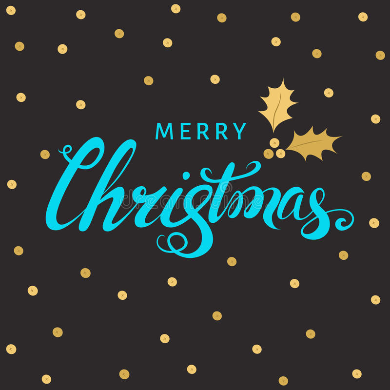 Kerstmishand het van letters voorzien met gouden takje van hulst met bes stock illustratie