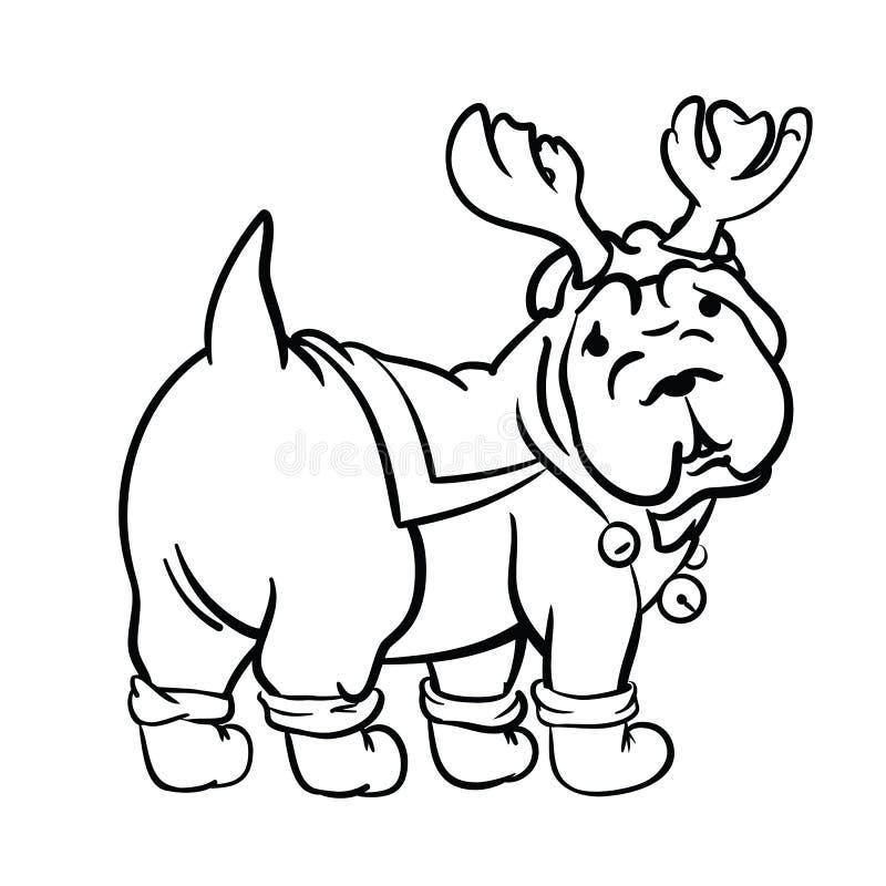 Kerstmishond in inktstijl die wordt getrokken stock afbeelding