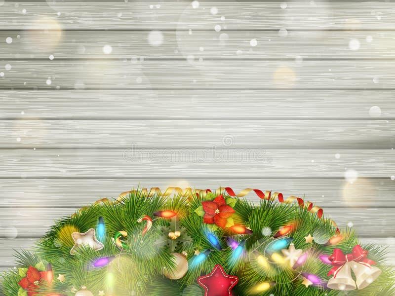 Kerstmishout met sneeuw Eps 10 stock illustratie