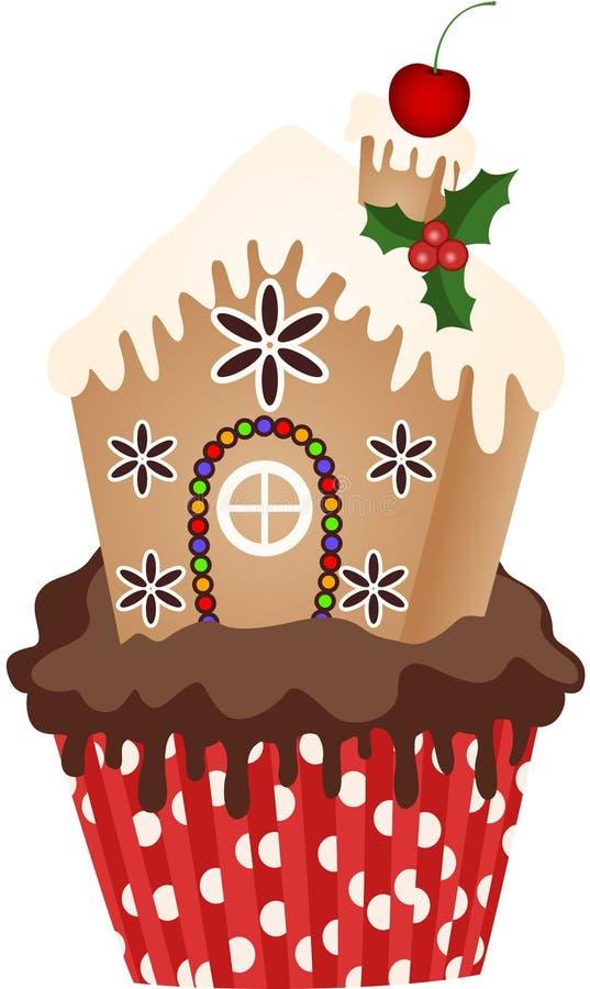 Kerstmishuis Cupcake stock illustratie