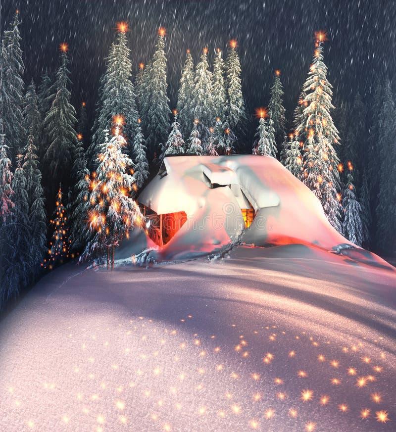 Kerstmishuis in de Karpaten royalty-vrije stock fotografie