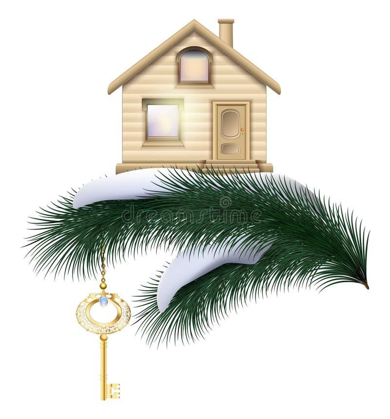 Kerstmishuis met gouden sleutel op een pijnboomtak met sneeuw Real Estate als gift voor het nieuwe jaar vector illustratie
