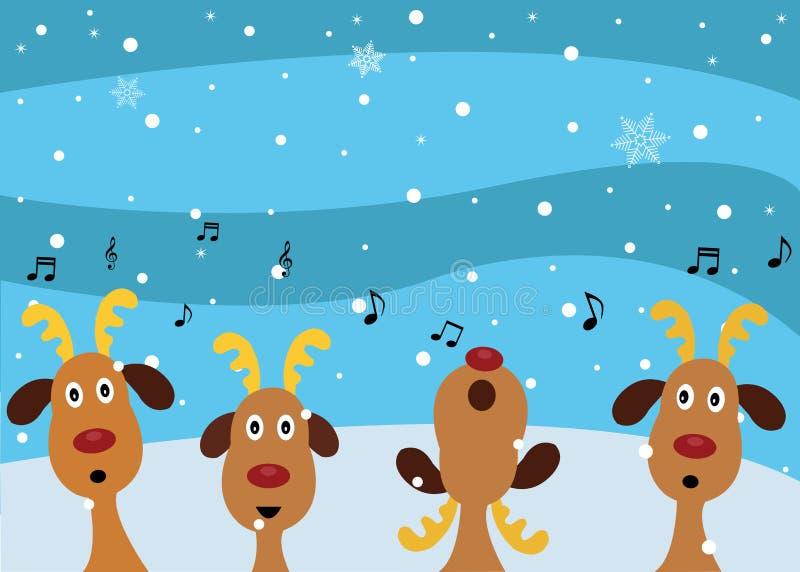 Kerstmishymnes door Rendieren royalty-vrije illustratie