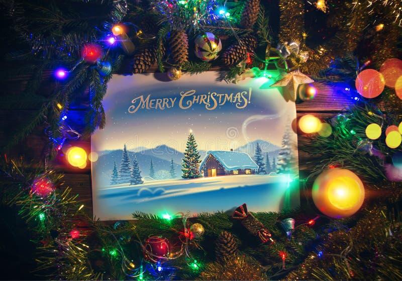 Kerstmisillustratie binnen vakantiekader vector illustratie
