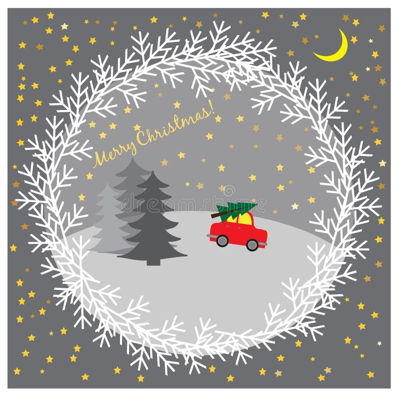 Kerstmisillustratie met auto het drijven Kerstboom stock illustratie