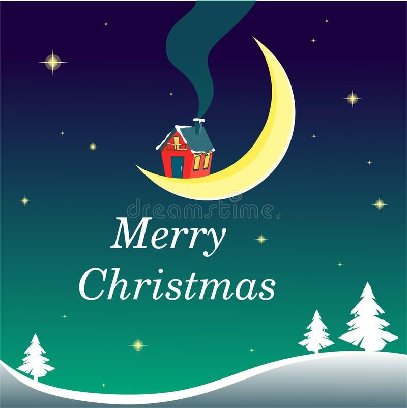 Kerstmisillustratie met een klein huis op de maan in de nachthemel met sterren en sneeuwheuvels en sparren stock illustratie