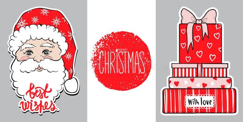 Kerstmisillustratie met giftdozen en leuke Santa Claus Het gelukkige ontwerp van het Nieuwjaar Kerstmis 2018 kaart Beste wensen royalty-vrije illustratie