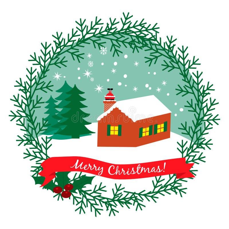 Kerstmisillustratie met huis ANS Santa Claus in de schoorsteen vector illustratie