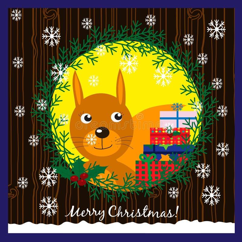Kerstmisillustratie met leuke eekhoorn in een holle boom stock illustratie