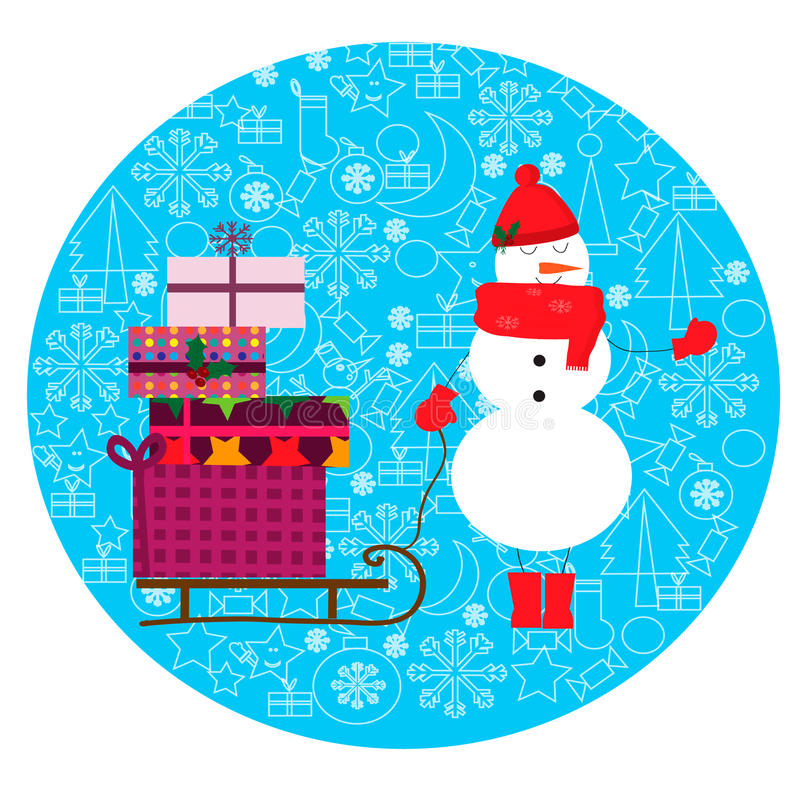 Kerstmisillustratie met leuke sneeuwmannen en ar met giften royalty-vrije illustratie