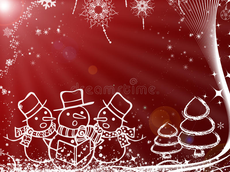 Kerstmisillustratie met sneeuwman voor groetkaart stock foto