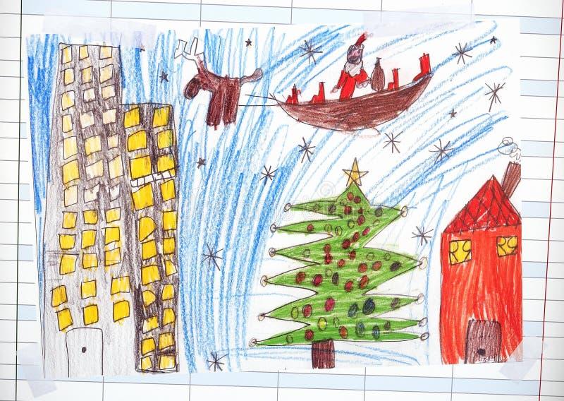 Kerstmisillustratie over Santa Claus stock foto's