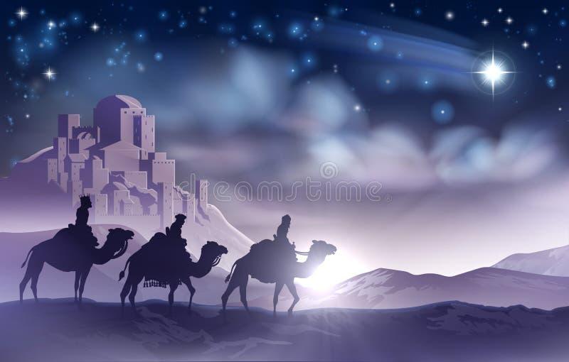Kerstmisillustratie van de drie Wijzengeboorte van christus vector illustratie
