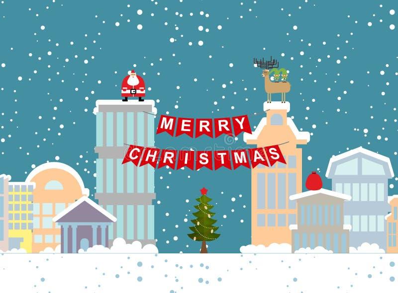 Kerstmisillustratie van de winterstad en slinger Achtergrond FO vector illustratie