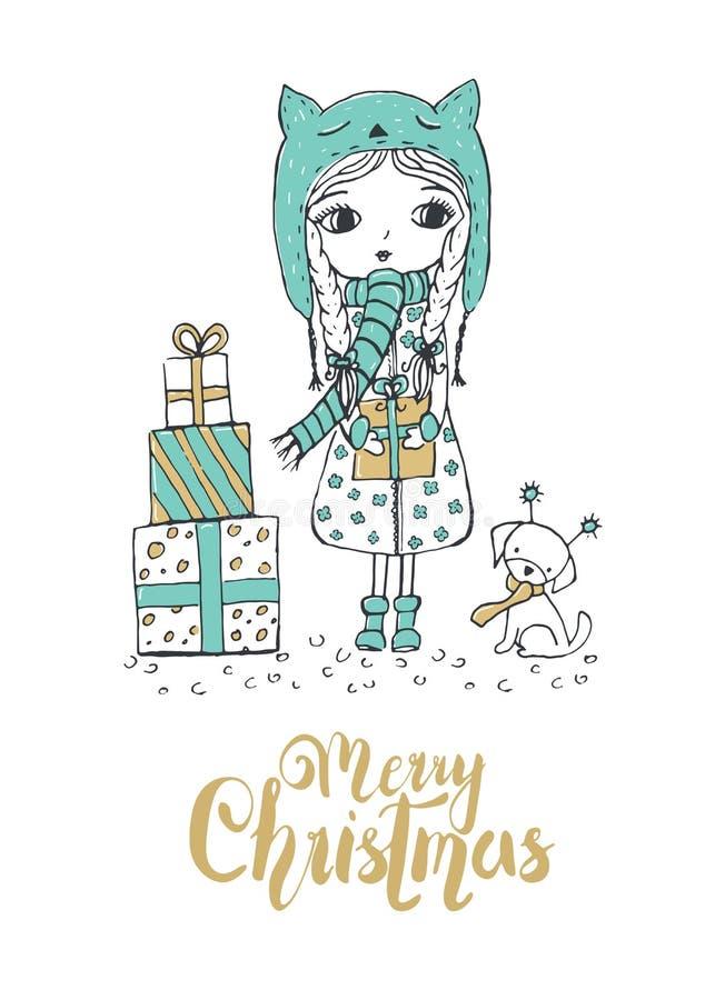 Kerstmisillustratie van een klein meisje en een leuke hond Vrolijke CH vector illustratie