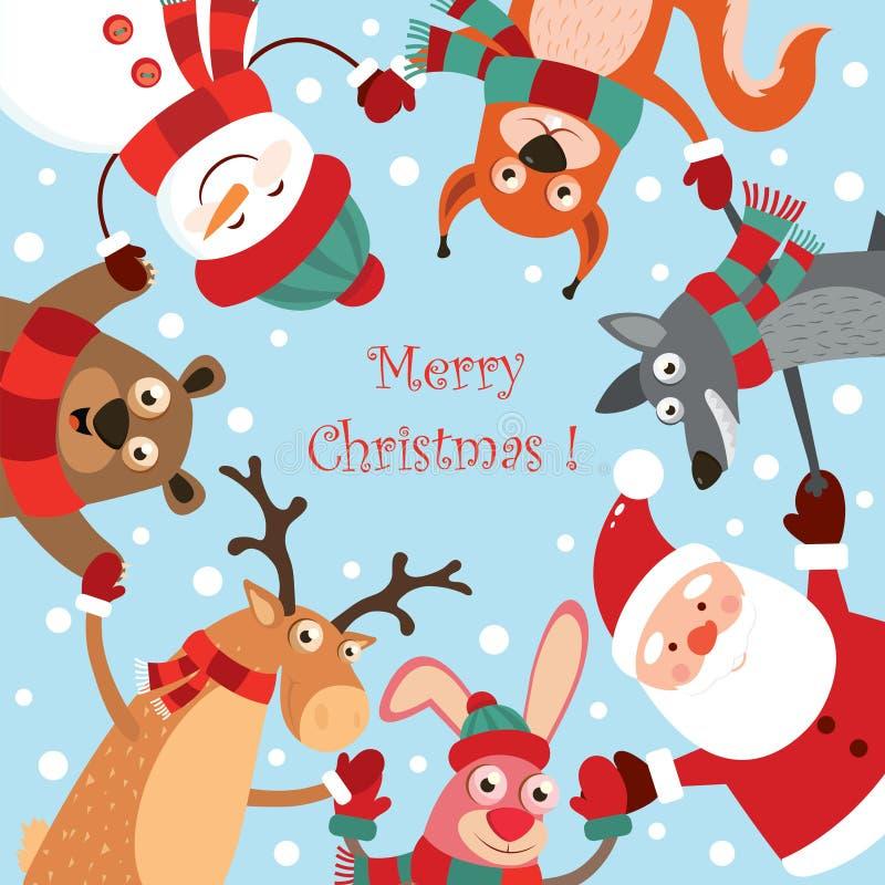 Kerstmisinzameling met leuke dieren in de dans: een haas, herten, beer, sneeuwman, eekhoorn, wolf, Santa Claus groet royalty-vrije illustratie