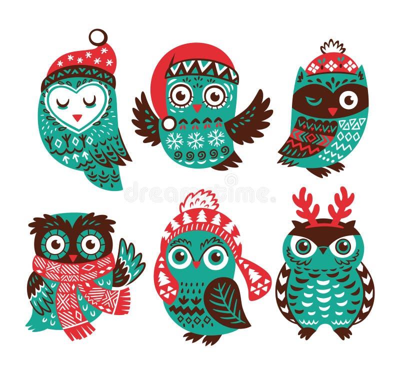 Kerstmisinzameling met leuke kleine uilen in gebreide hoeden vector illustratie