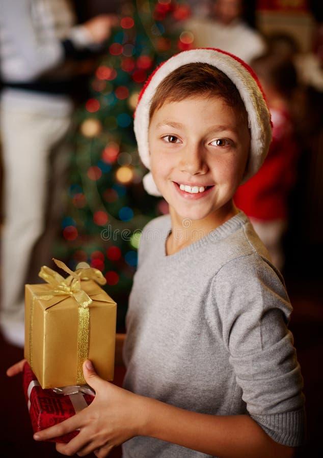 Kerstmisjongen stock foto