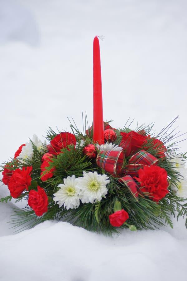 Kerstmiskaars en bloemvertoning, door sneeuw wordt omringd die stock foto