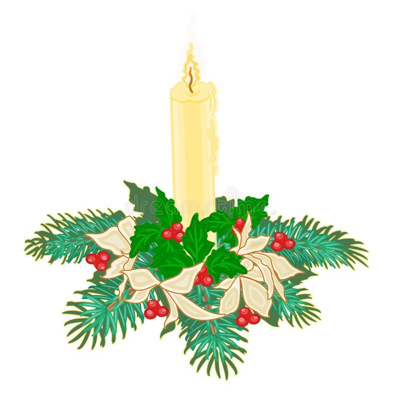 Kerstmiskaars met boegen van hulst en poinsettiavector vector illustratie