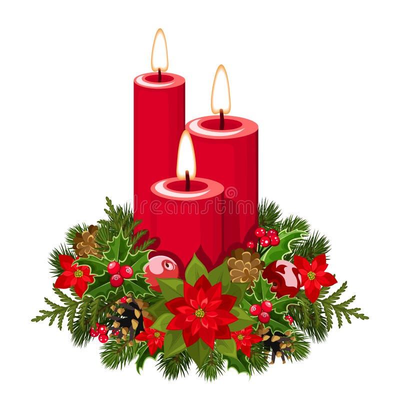 Kerstmiskaarsen. royalty-vrije illustratie