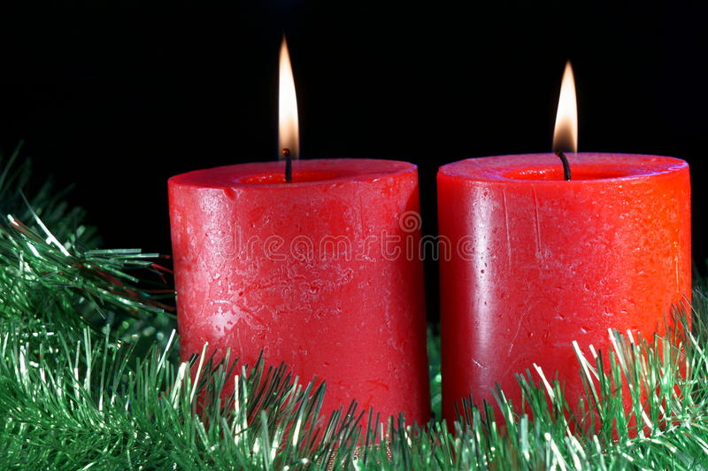 Kerstmiskaarsen stock afbeelding
