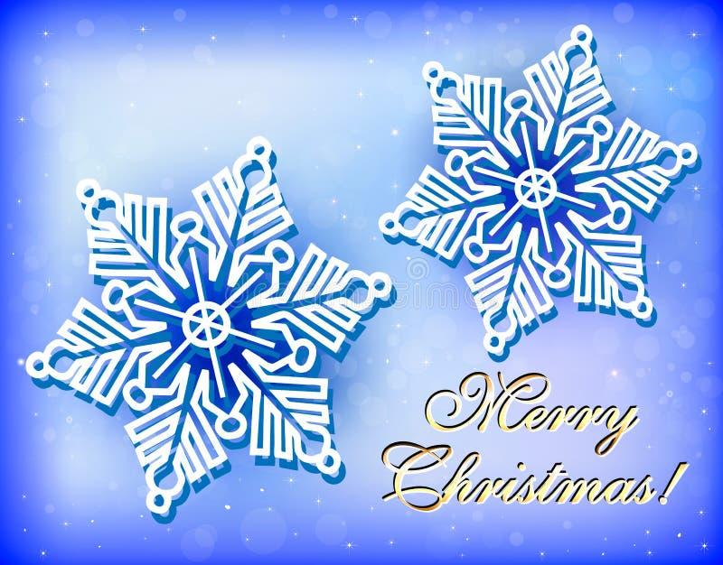 Kerstmiskaart met sneeuwvlokken en gelukwens royalty-vrije illustratie
