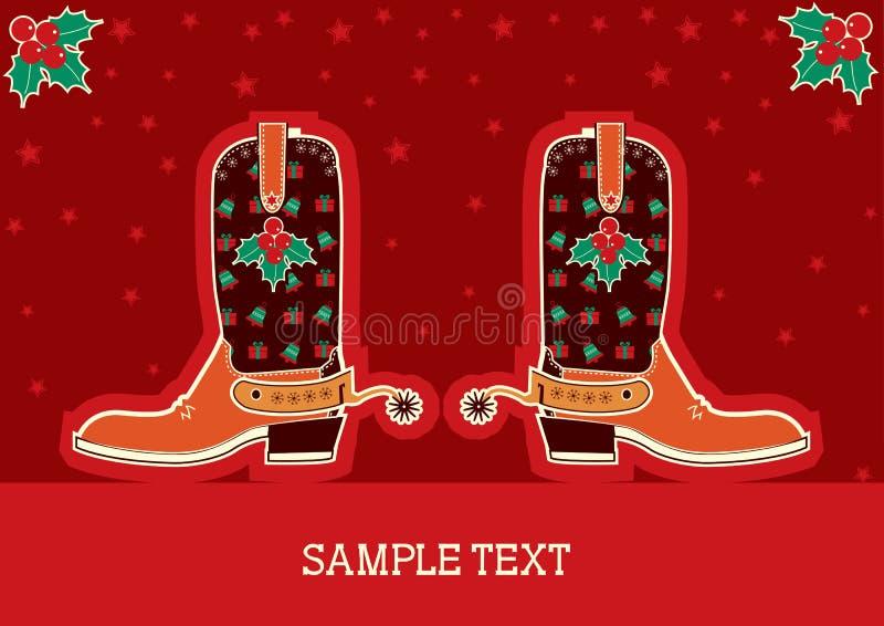 Kerstmiskaart van de cowboy stock illustratie