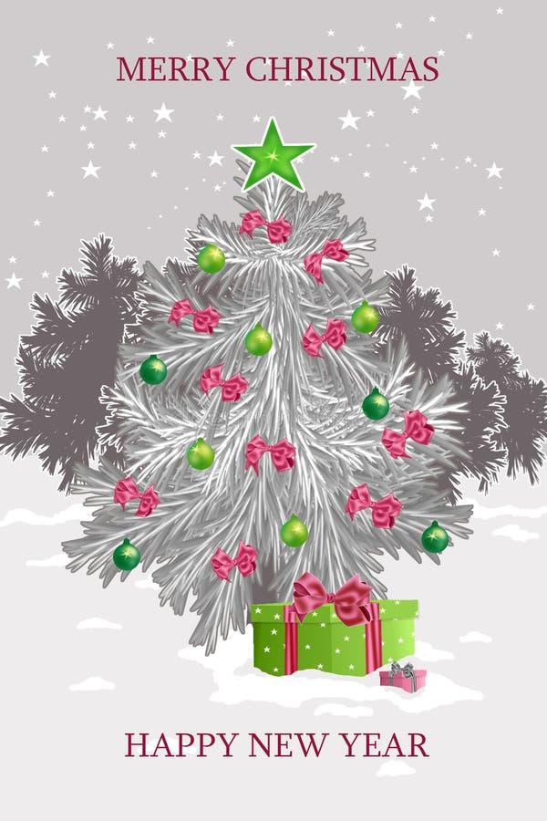 Kerstmiskaarten met cristmasboom een illustratie royalty-vrije stock afbeelding