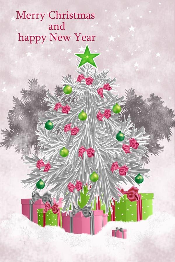 Kerstmiskaarten met Kerstmisboom en achterstevens op de hemel stock fotografie