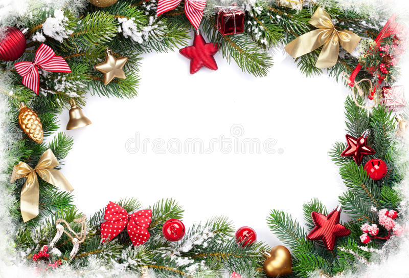 Kerstmiskader met decor en spar stock foto