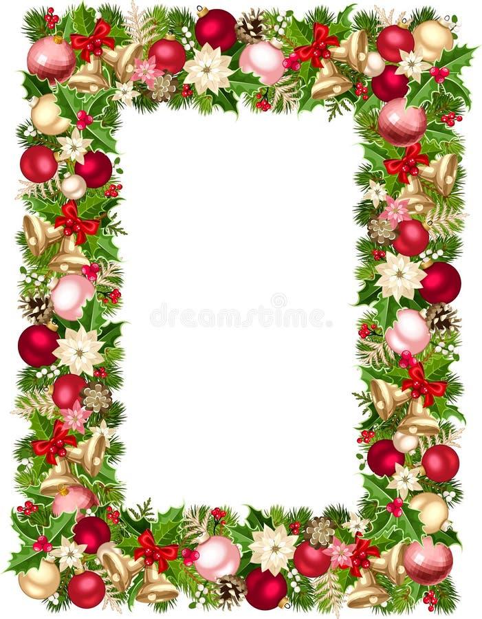 Kerstmiskader met sparrentakken, ballen, klokken, hulst, poinsettia en kegels Vector illustratie stock illustratie