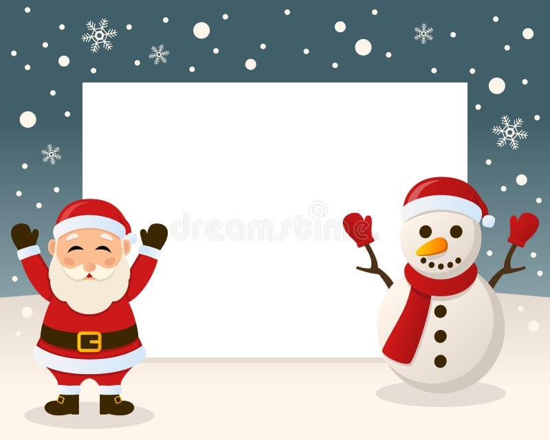 Kerstmiskader - Santa Claus & Sneeuwman royalty-vrije illustratie