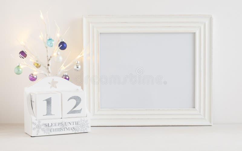 Kerstmiskalender - 12 slaap tot Kerstmis stock foto's