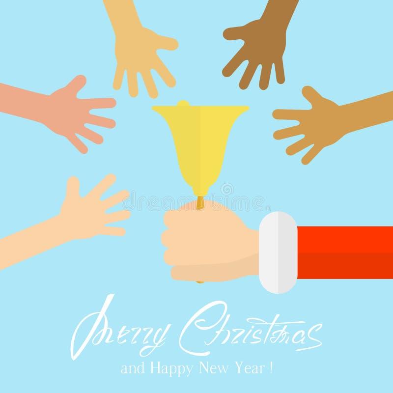 Kerstmisklok en handen stock illustratie