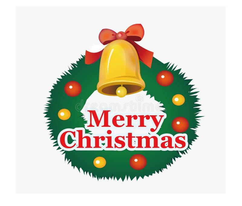 Kerstmisklok, kroon, gekleurde bal royalty-vrije illustratie