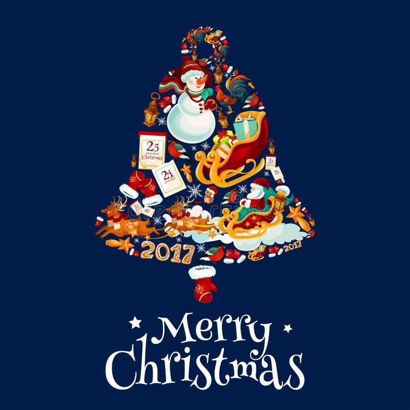 Kerstmisklok met de afficheontwerp van Nieuwjaarsymbolen stock illustratie