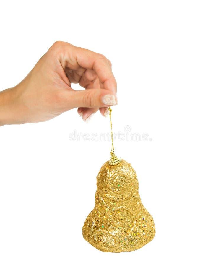 Kerstmisklok op een koord royalty-vrije stock afbeelding