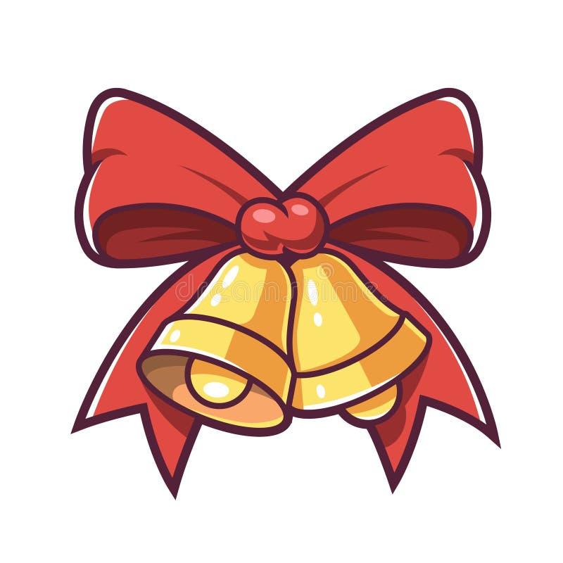 Kerstmisklokken en rode boog stock illustratie