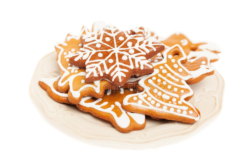 Kerstmiskoekje op Plaat royalty-vrije stock foto